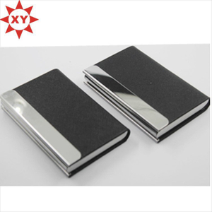 Shiny Metal Black Leather Business Card Holder
