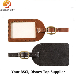High Quality Genuine Leather Luggage Tag with Strap