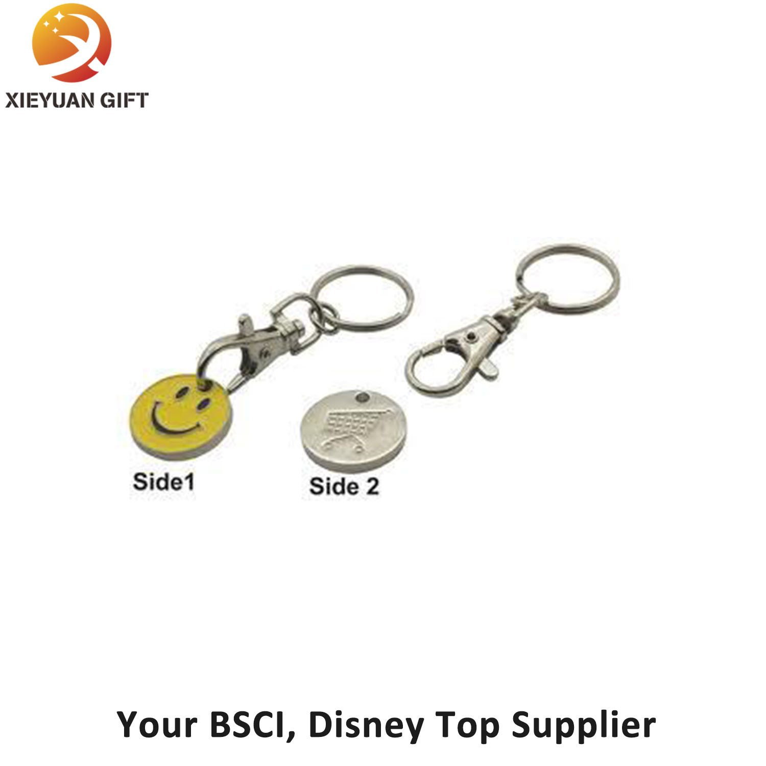 Supermarket Promotion Smily Trolley Coin Keychain