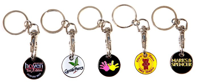 Custom Logo Various Styles Iron Trolley Coins Keyrings