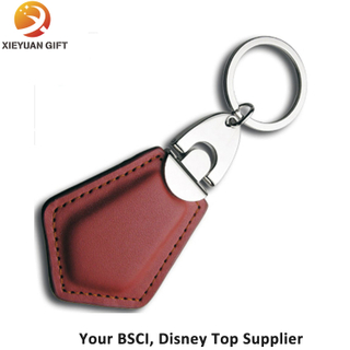 Shield Shape Adult Leather Key Chains FOB and Key Ring for Men and Women