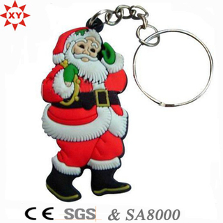 Promotion Christmas Gift PVC Keychain with Key Ring