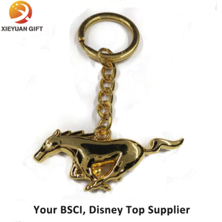New Product Metal Gold Plating 3D Horse Keychain for Gifts