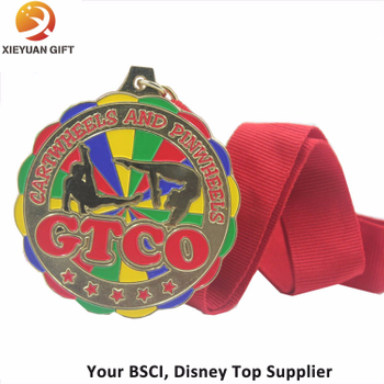 High Quality Soft Enamel Sports Promotion Medal with Red Ribbon