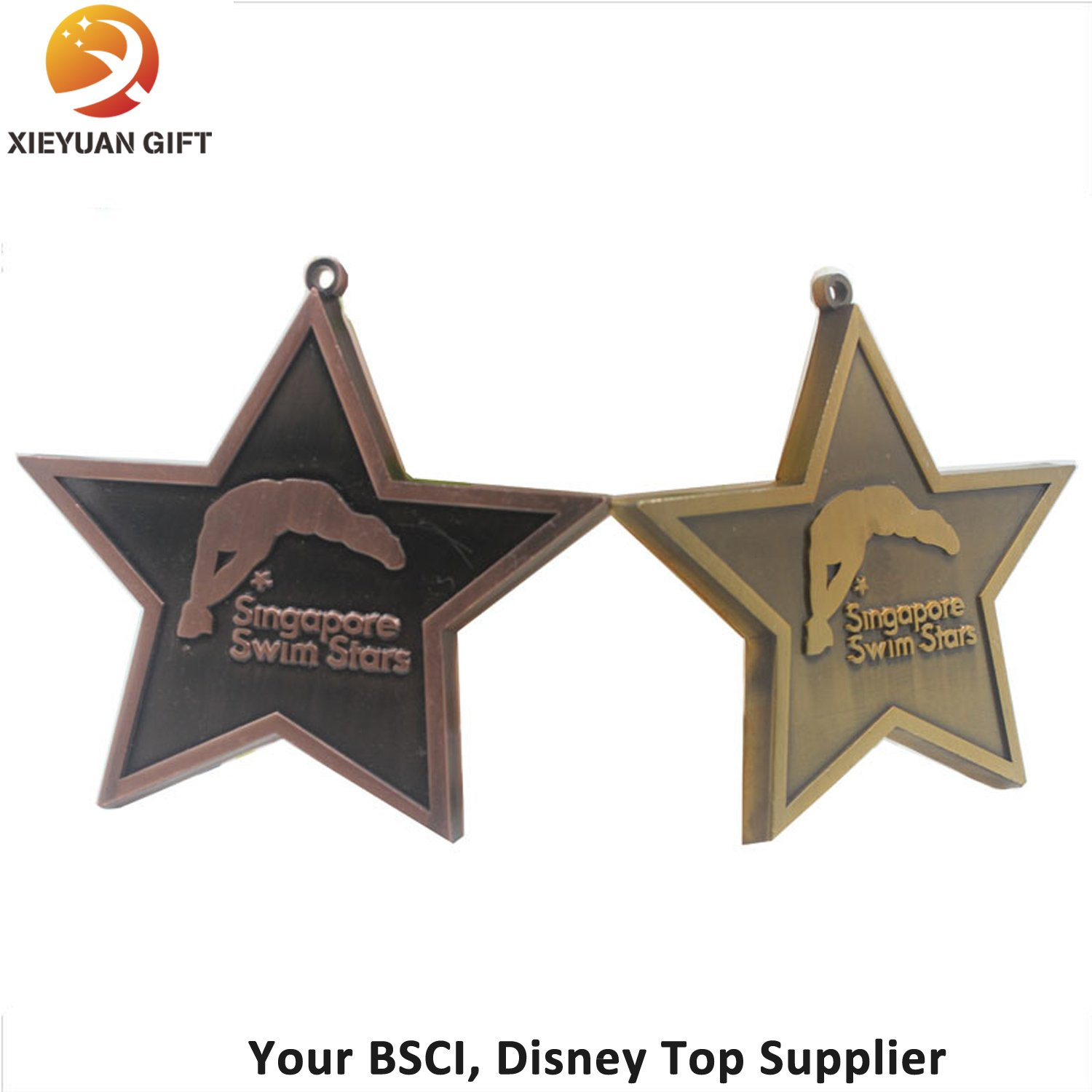 Promotion Gift Custom Star Shape Medal Plated Antique