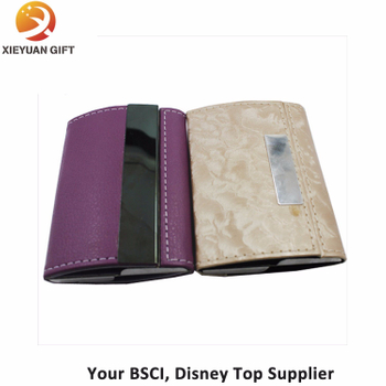 Business Name Card Holder PU Leather Magnetic Case with Purple and Maize-Yellow