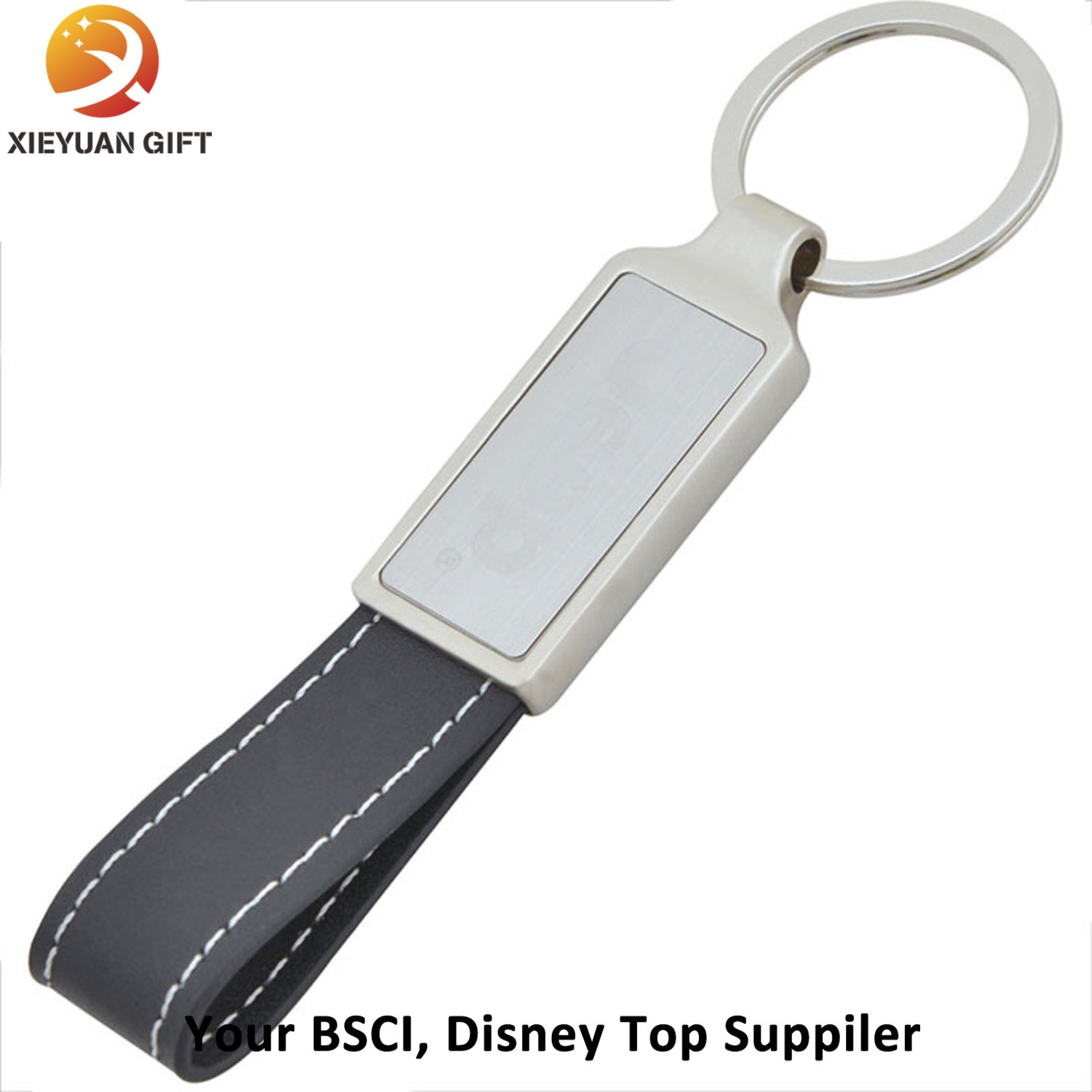 Custom Black Leather Belt Keychains Rings of Souvenir