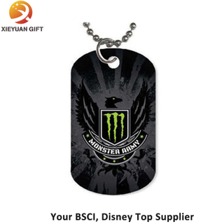 Crucible Blackplated Men′s Engravable Diamond Eagle Dog Tag Necklace