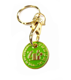 Gold Euro Trolley Coin Metal Keychain for Souvenir Gifts and Promotions