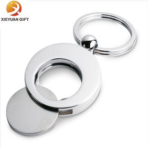 BSCI directly manufacturer 15years with experience professional do Metal Material Trolley Coins Printed Logo with Ring Keychain