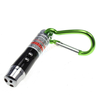 Metal White Light Torch with Bright Green Carabiner for Decoration