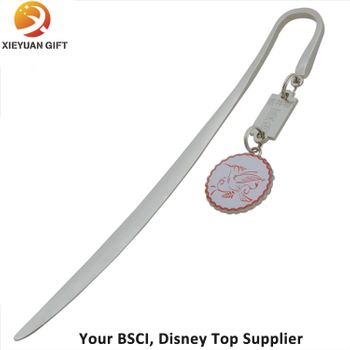 Round Bidd Metal Stick Bookmarker Plated Silver Charm